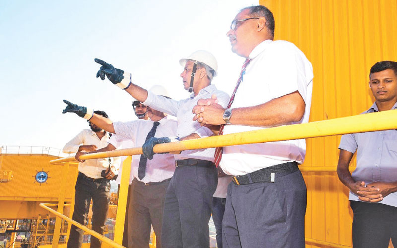 Ports, Shipping and Southern Development Minister Sagala Ratnayake during a recent visit to the Colombo Port.