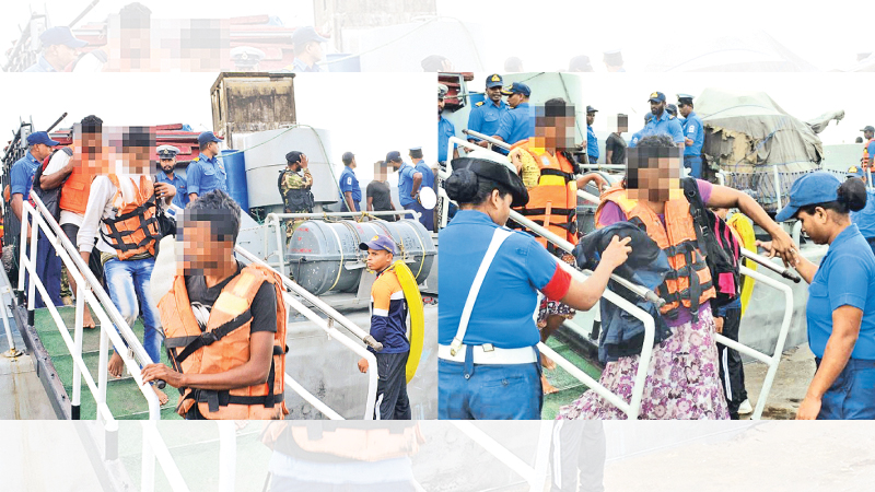 Navy personnel taking charge of the illegal immigrants. Pictures by Sri Lanka Navy