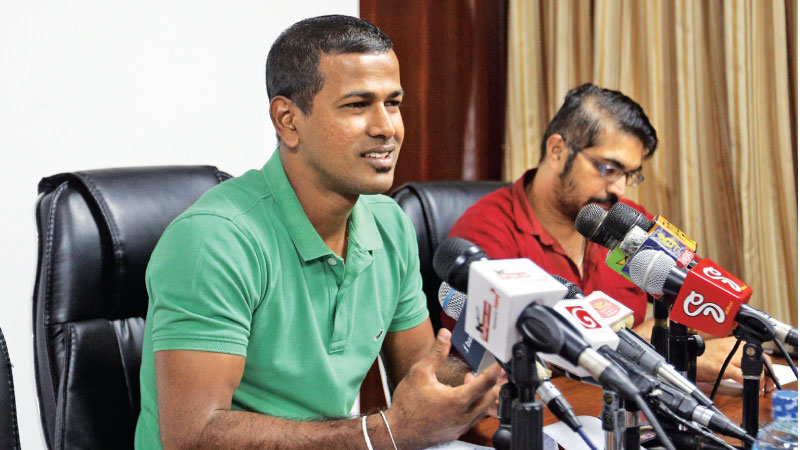 Nuwan Kulasekara addressing the press conference at Colts CC pavilion yesterday where he announced his retirement from international cricket.