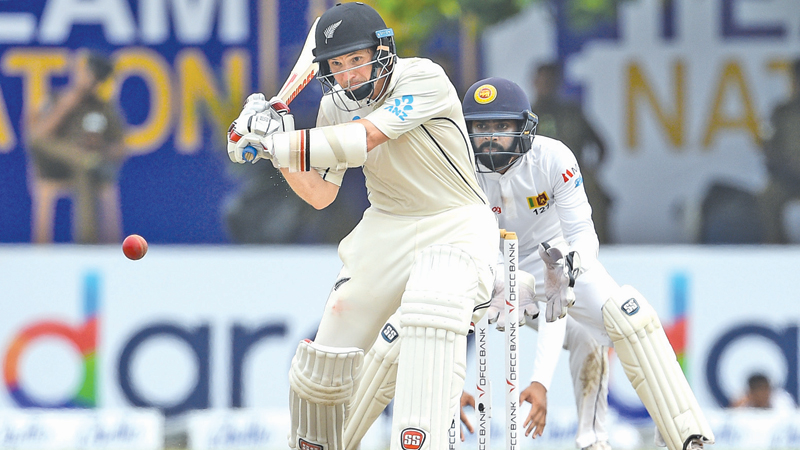 New Zealand's Bradley-John Watling plays a shot during his defiant knock of  63 not out. - AFP
