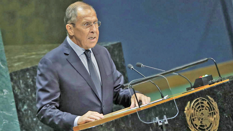 Russian Foreign Affairs Minister Sergey  Lavrov, speaks  during the General Debate of the 72nd United Nations General Assembly at UN headquarters in New York, USA,  September 21, 2017.