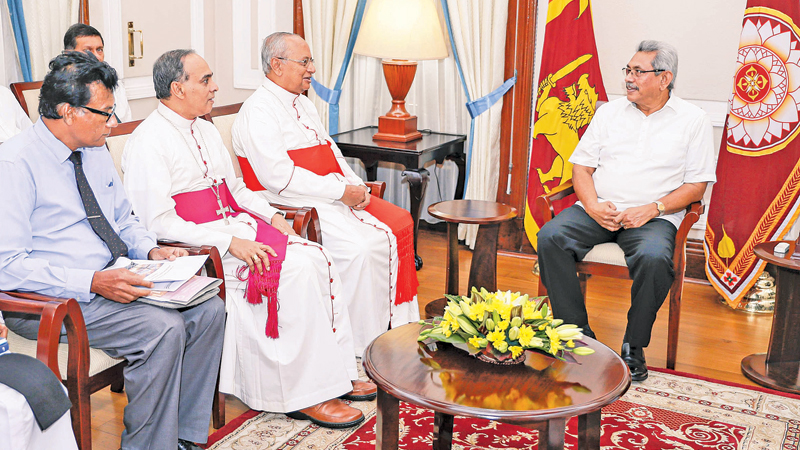 DISCUSSIONS ON NOROCHCHOLAI ISSUE: President Gotabaya Rajapaksa held a discussion with Archbishop of Colombo Malcolm Cardinal Ranjith and Bishop of Chilaw Rt.Rev. Valence Mendis over the environmental and social issues caused by the Norochcholai Coal Power Plant, at the Presidential Secretariat yesterday. Residents and environmentalists in the area were present. Picture courtesy President's Media  Division