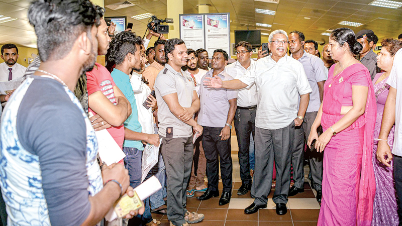 President Gotabaya Rajapaksa during a visit to the Department of Motor Traffic in Werehera recently. Picture courtesy President's Media Division