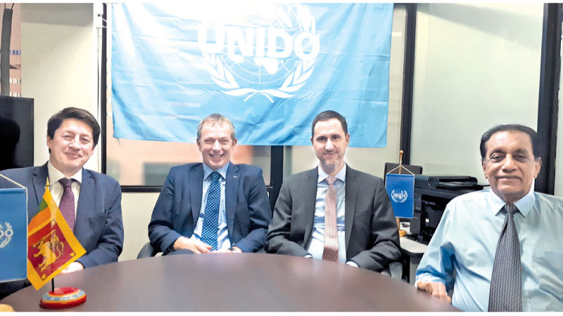 From Left: Dr Anders Isaksson (Senior Research and Industrial Policy Officer-UNIDO Vienna International Centre), Rene Van Berkel (UNIDO Representative, Regional Office, India), Ralf Bredel (Chief, Regional Division of Asia Pacific-UNIDO Vienna International Centre) and Nawaz Rajabdeen (National Director- UNIDO Focal Point, Sri Lanka) meet in Colombo yesterday.