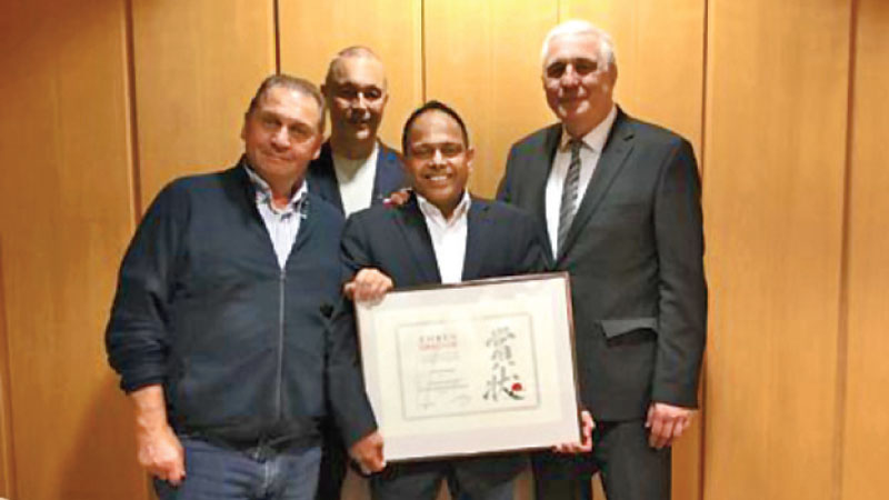 Shihan Athula after receiving the 'Award of Honour' from the German federation