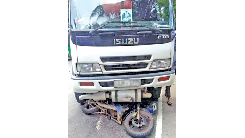 The motorcycle collided with a bowser resulting in the death of the rider. Picture by Ingiriya Central Group Corr.