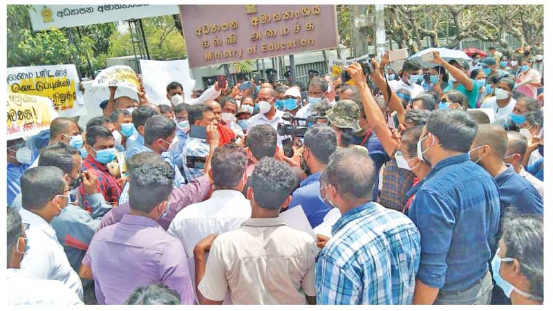 The People's Movement for the Protection of Schools protest over the cut-off marks for the Grade 5 Exam, outside the Education Ministry.