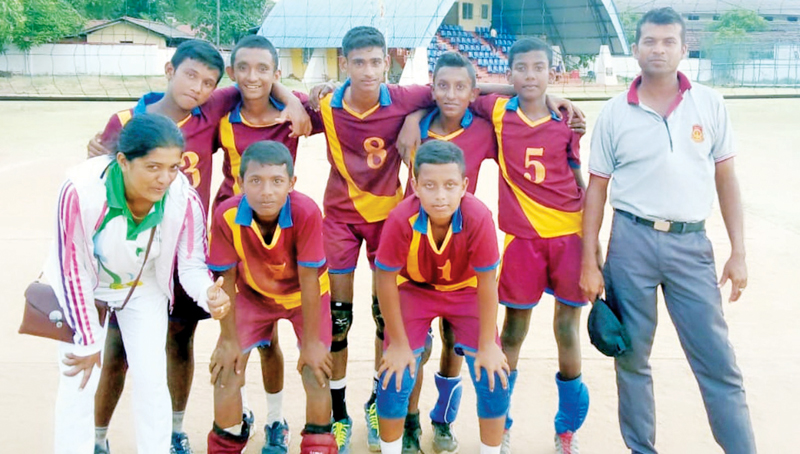 President's College, Medirigiriya, Polonnaruwa under 16 volleyball team the runners up of North Central Province Volleyball Tournament. Standing L/R – Mrs. Udeni Rathnayake (Teacher in Charge of Volleyball), Janith Nimalka, Sajith Nirmal, Back Tow Standing L/R – Kamodya, Nirshana, Chathura Lakshan, Prabodya Nirmal, Pawan Chamika, Gamini (Coach). (Picture by Dilwin Mendis Moratuwa Sports Special Correspondent)