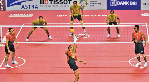 Action from a sepaktakraw game