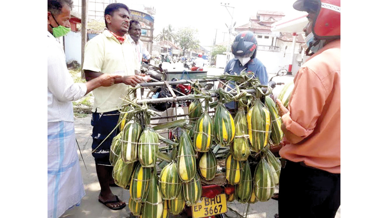 A vendor selling cucumber at a junction in the Eastern Province.