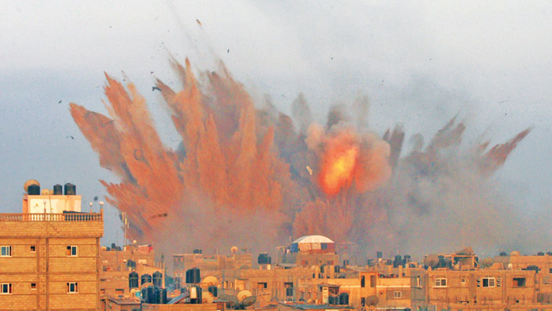 The Israel-Palestine conflict in Gaza.