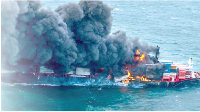 """The """"X-PRESS PEARL"""" vessel engulfed in flames. Pictures were captured by a SL Air Force Bell 212 helicopter yesterday morning."""
