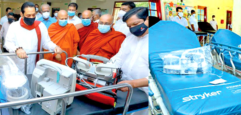 Prime Minister Mahinda Rajapaksa yesterday handed over a stock of medical equipment received by the Hospital Services Council of the Colombo General Hospital from the California Hospital Services Support Foundation (HSSF) to one of the six hospitals in the Hambantota District.
