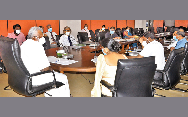 Fisheries Minister Douglas Devananda at the recent Progress Review Meeting with Ministry officials.