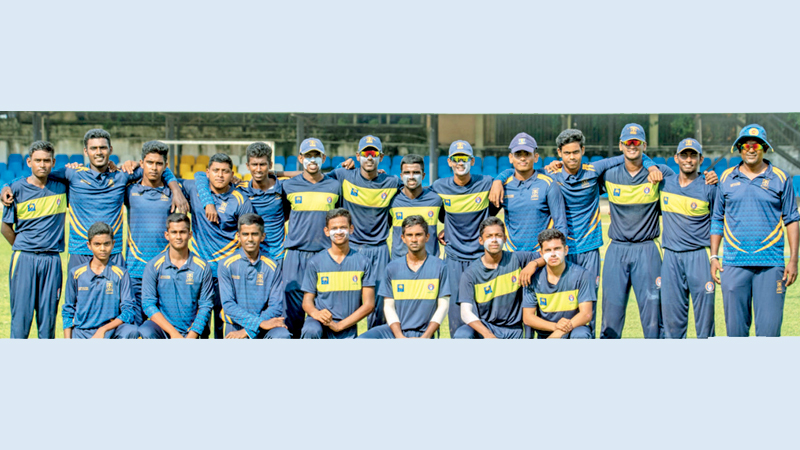 St. Anthony's College Wattala met Ananda College Colombo in the Pre Quarter Finals of the Sri Lanka Schools under 19 Limited Over Tournament – 2021 and Antonians posed for a group photograph prior to the match. Shan Aniketh squatting in front row second from right. (Dilwin Mendis – Moratuwa Sports Special Correspondent).