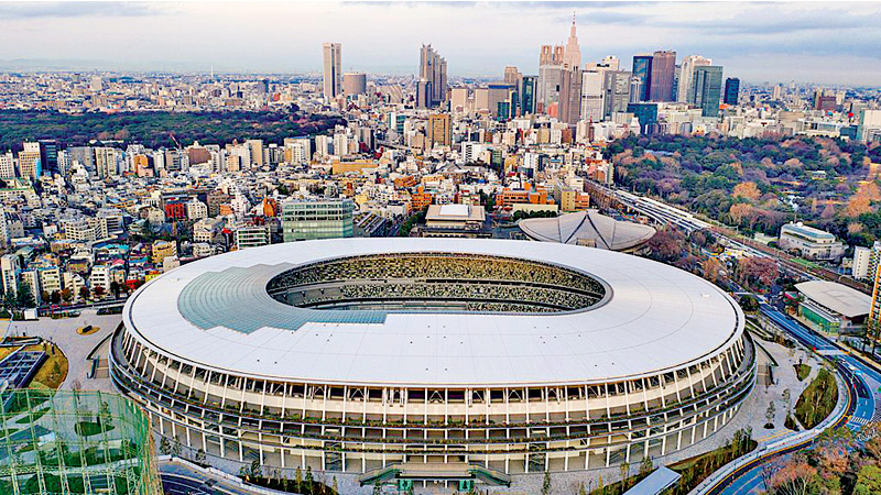 Aerial view of the Japan National Stadium