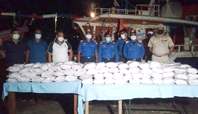 The heroin haul with Navy officers. Pictures by Navy Media.