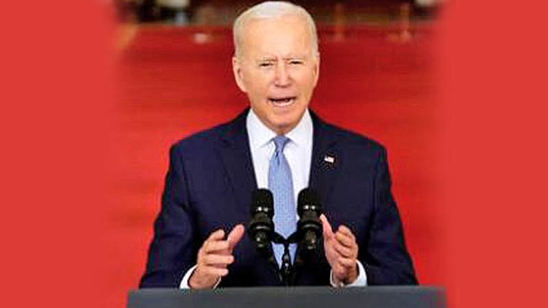 US President Biden addressing the Nation from the Cross Hall at the White House on Tuesday on the Afghan evacuation mission.