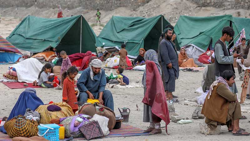 Afghan refugees fleeing Taliban rule pitched a camp in the desert.