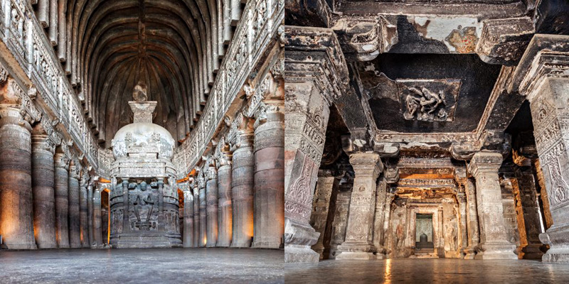 Ajanta Caves (The local feudalistic lord and king – Upendragupta), Ellora Caves(built during 757-783 AD by Krishna I who was the uncle of Dantidurga)