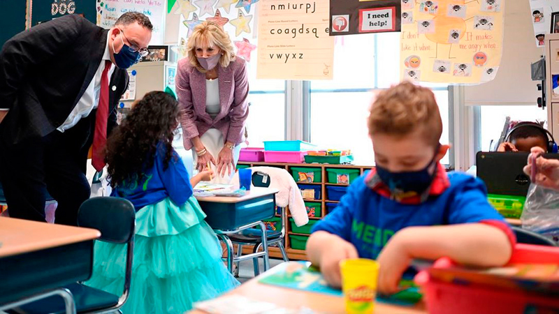 US First Lady Dr. Jill Biden speaking to children during a tour of the Fort LeBoeuf Middle School in Waterford, Pennsylvania in March this year.