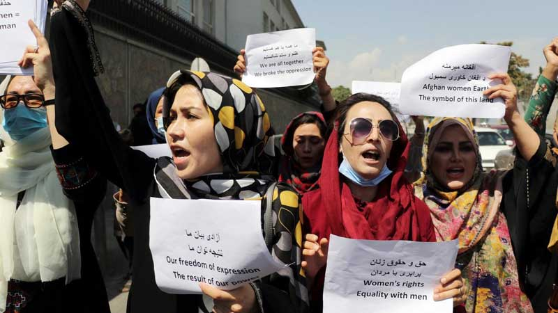Afghan women protest in Kabul.