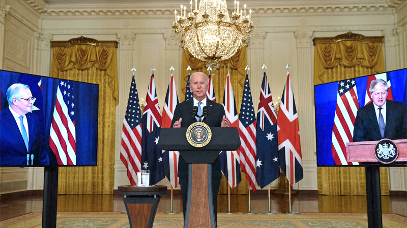 US President Joe Biden announces a three-way alliance with British Prime Minister Boris Johnson (R) and Australian Prime Minister Scott Morrison at the White House on September 15, 2021 after the announcement of a new Indo-Pacific security alliance between the United States, Britain and Australia.