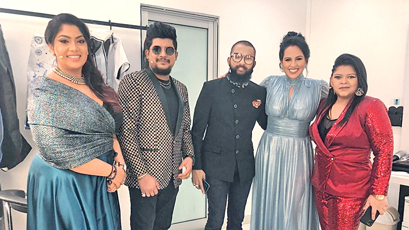 With the judges and presenters of 'The Voice'