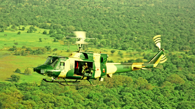 A Bell 212 on a mission