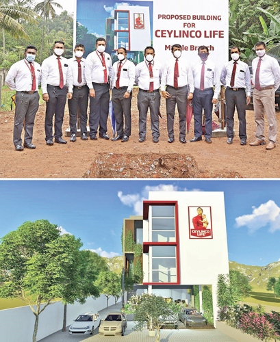 Representatives of Ceylinco Life's management and branch staff at the foundation stone laying ceremony and an artist's impression of the new building to be constructed