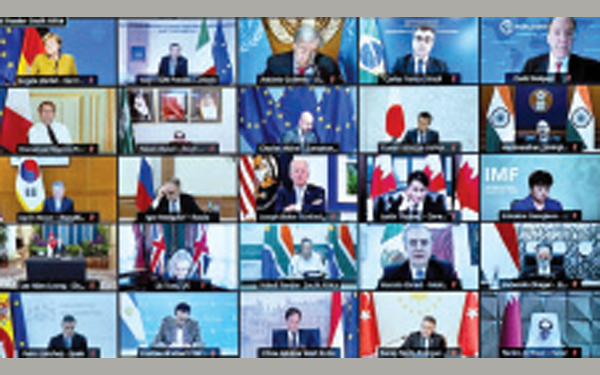 Leaders take part in a virtual G-20 meeting on Afghanistan on Tuesday.