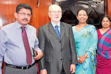 Health Services Director General Dr. Anil Jasinghe, Prof. Donat Hader, Health Minister Pavithra Vanniarachchi, and Health Ministry Secretary Bhardrani Jayawardena at the event.