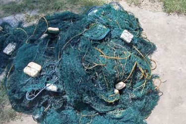 Illegal fishing nets, which were seized by the Navy