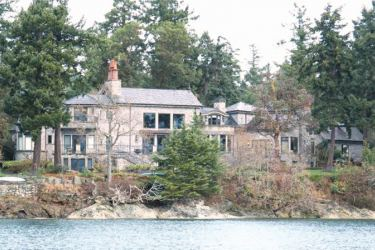 The Canadian residence of Prince Harry and and his wife Meghan is seen in the Deep Cove neighbourhood from a boat on the Saanich Inlet, North Saanich, British Columbia.