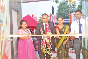 The picture shows (From left) Chanduni Weerasekera – Manager, Narammala Branch; Kusal De Silva, AGM - Operations and Card Center; Muditha Liyanapathirana - Senior Regional Manager and Ruwan Jayalath - Assistant Manager, Narammala Branch of Sampath Bank PLC ceremoniously opening the relocated branch.