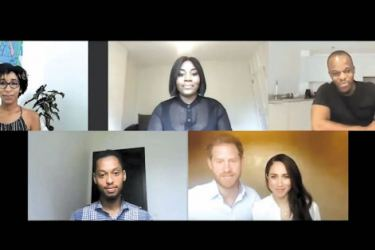 Harry and Meghan joined young black leaders during the discussion on racial injustice.- (News Video)