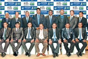 The selection panel that picked the winners of the Sunday Observer-Mobitel School Cricketer of the Year contest. Seated: Daminda Cooray (President, Sri Lanka Cricket Umpires Association), Jude Silva (Communications Channel Manager, Mobitel), Thilak Watthuhewa (Principal Nalanda College and President Sri Lanka Schools Cricket Association), W. Dayaratne PC (Chairman ANCL), Asantha de Mel (chairman National Cricket Selection Committee), JAKS. Indrajith (Secretary, Sri Lanka Schools Cricket Association), Upul W