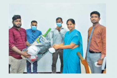 Eastern Province Governor Anuradha Yahampath handing over the sports gear