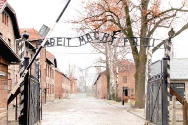 The infamous slogan 'Arbeit macht frei' (Work sets you free) at the Nazi concentration camp at Auschwitz