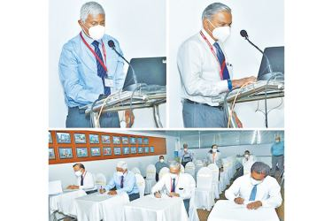 Ceylinco Life Chairman R. Renganathan and Managing Director Thushara Ranasinghe is seen selecting some of the winners and Directors of the Company ratifying the results of the fourth draw