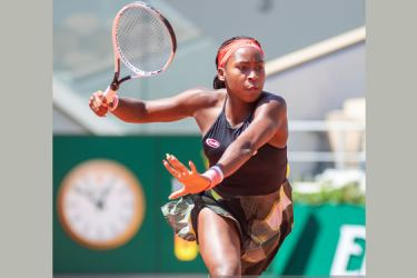 Coco Gauff in action