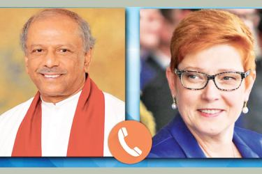 Foreign Minister Dinesh Gunawardena  and Australian Foreign Affairs Minister Marise Payne.