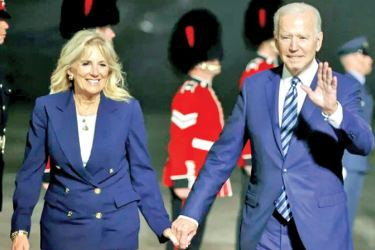 US President Joe Biden and First Lady Jill Biden arrive at Cornwall Airport Newquay,  England on Thursday for the G7 summit in Cornwall.