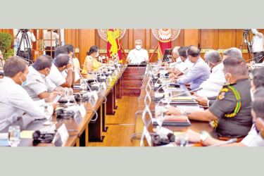 President Gotabaya Rajapaksa chaired a meeting held with the Special Committee on COVID-19 Prevention at the Presidential Secretariat on Thursday (10).