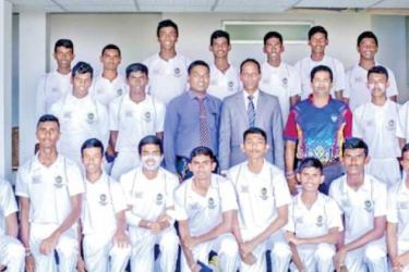 Piliyandala Central College First Eleven Cricket Team 2019/20. Movin Pahasara de Silva is squatting in the front row 5th from left. (Dilwin Mendis, Moratuwa Sports Special Correspondent)