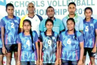 Hungama National School Girls Volleyball Team were the DSI Champions 2020. They posed for a photograph just after clinching the Trophy. (Dilwin Mendis, Moratuwa Sports Special Correspondent)