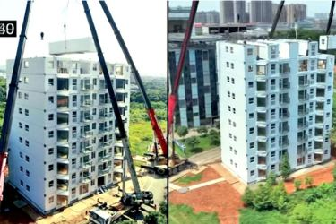 Screengrab of Broad Group's video showing the construction of the 10-storey building in Changsha city.