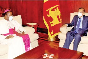 His Eminence Archbishop Brian Udaigwe, Apostolic Nuncio (the Vatican Ambassador) to Sri Lanka paid a courtesy call on Foreign Minister Prof. G. L. Peiris at the Foreign Ministry on Tuesday.