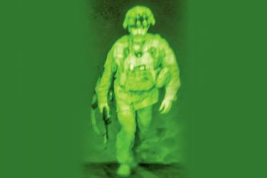 A photograph using night vision optics shows General Chris Donahue, Commander of the 82nd Airborne Division, stepping on board a transport plane as what the XVIII Airborne Corps called the last soldier to leave Kabul.