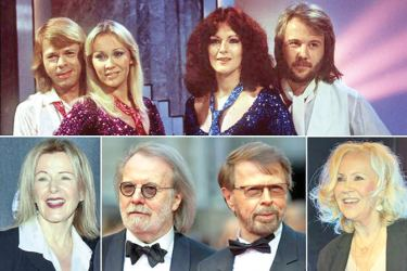 ABBA in 1974 (Top) and in 2020 (Bottom)